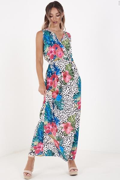 Multicoloured Floral Print Wrap Maxi Dress